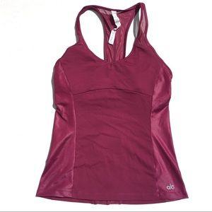 ALO Yoga Chromatic Long Bra Tank- Berry- Medium